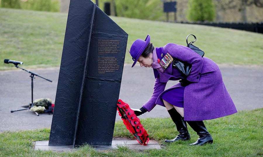 <a href=/tags/0/princess-anne><strong>Princess Anne</strong></a> was resplendent in royal purple during a dawn service to commemorate Anzac Day at the New Zealand War Memorial in London on April 25, 2021.