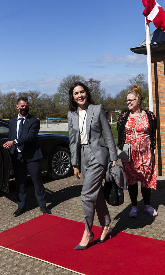 <a href=/tags/0/crown-princess-mary><strong>Crown Princess Mary</strong></a> suited up in chic grey coordinates at UNFPA's State Of World Population Report Release at Gerlev Sports High School on April 22, 2021 in Slagelse.