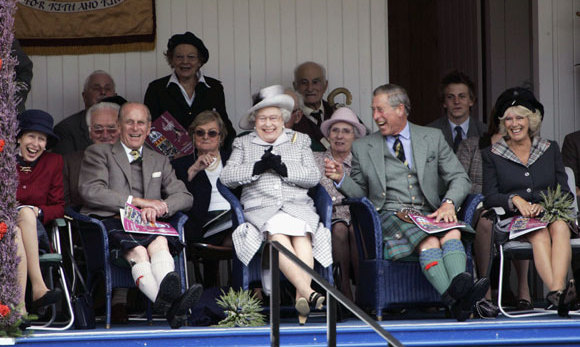 Even official engagements like the Braemar Games take on a much more fun aspect north of the border.  Here the Queen and Prince Philp watch the tug of war with Princess Anne, Prince Charles and the Duchess of Cornwall.