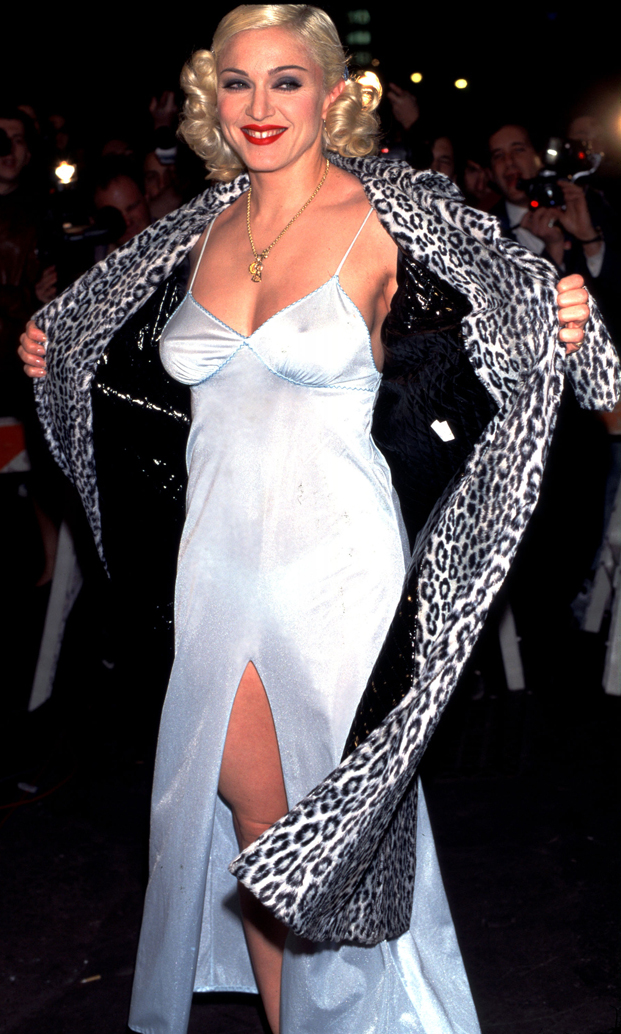 "In Versace nightwear to celebrate the première of her ""Bedtime Story"" video in New York City, 1995."