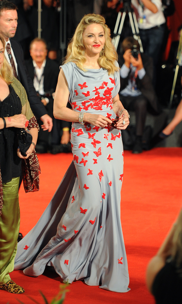 "Arriving at the premiere of her directorial debut ""W.E."" in a  custom-made Vionnet gown at the 68th Venice International Film  Festival, 2011."