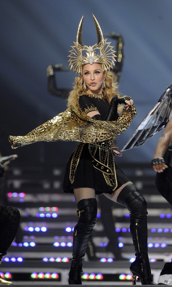 Reigning during her Super Bowl halftime performance in 2012.