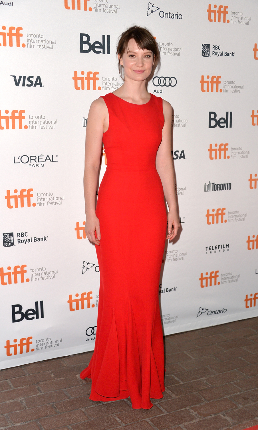 Actress Mia Wasikowska at the Only Lovers Left Alive premiere at the 2013 Toronto International Film Festival.