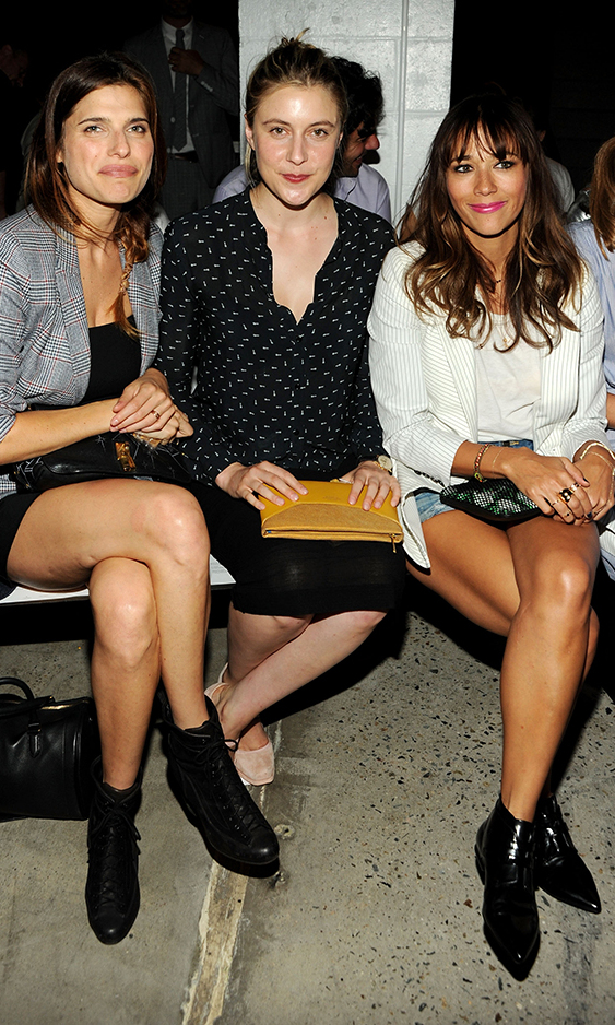 (L-R) Actresses Lake Bell, Greta Gerwig and Rashida Jones attend Band Of Outsiders Women's during Mercedes-Benz Fashion Week Spring 2014 on September 8, 2013 in New York City.