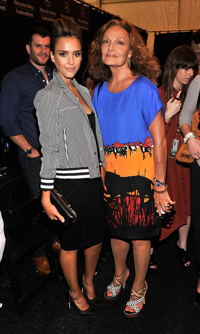 Actress Jessica Alba (L) and designer Diane Von Furstenberg (R) pose backstage at the Diane Von Furstenberg fashion show during Mercedes-Benz Fashion Week Spring 2014 at The Theatre at Lincoln Center on September 8, 2013 in New York City.