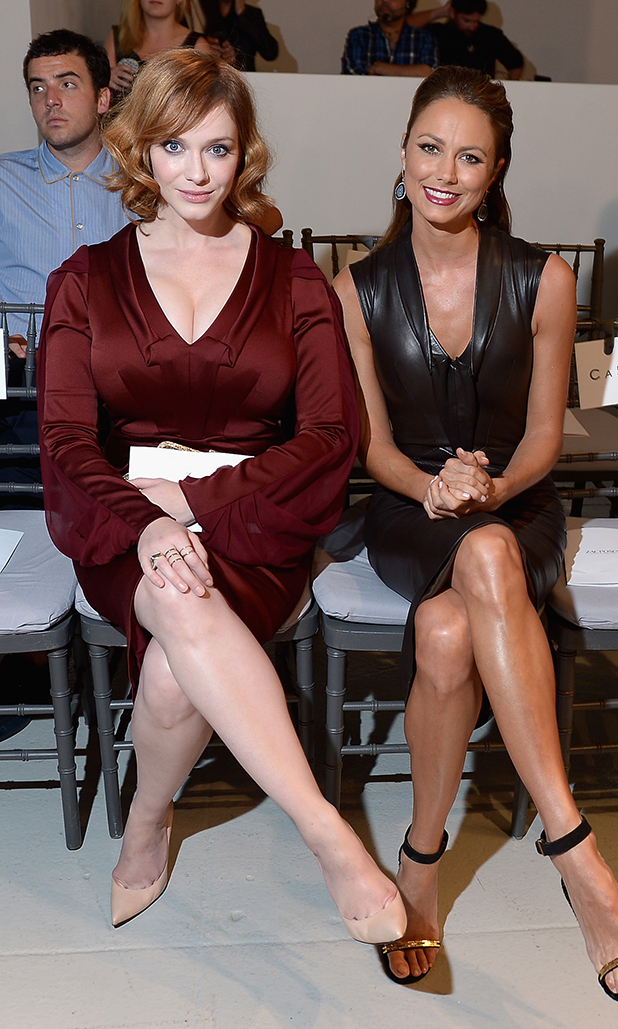 Christina Hendricks and Stacy Keibler attend the Zac Posen fashion show during Mercedes-Benz Fashion Week Spring 2014 at Center 548 on September 8, 2013 in New York City.