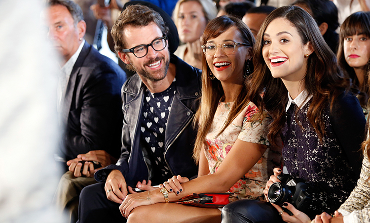 Brad Goerski, Rashida Jones and Emmy Rossum attend the Tory Burch fashion show during Mercedes-Benz Fashion Week Spring at David H. Koch Theater at Lincoln Center on September 10, 2013 in New York City.