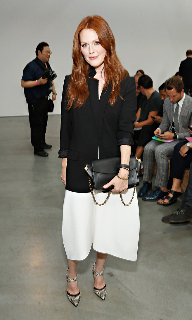 Actress Julianne Moore attends the Reed Krakoff fashion show during Mercedes-Benz Fashion Week Spring 2014 on September 11, 2013 in New York City.