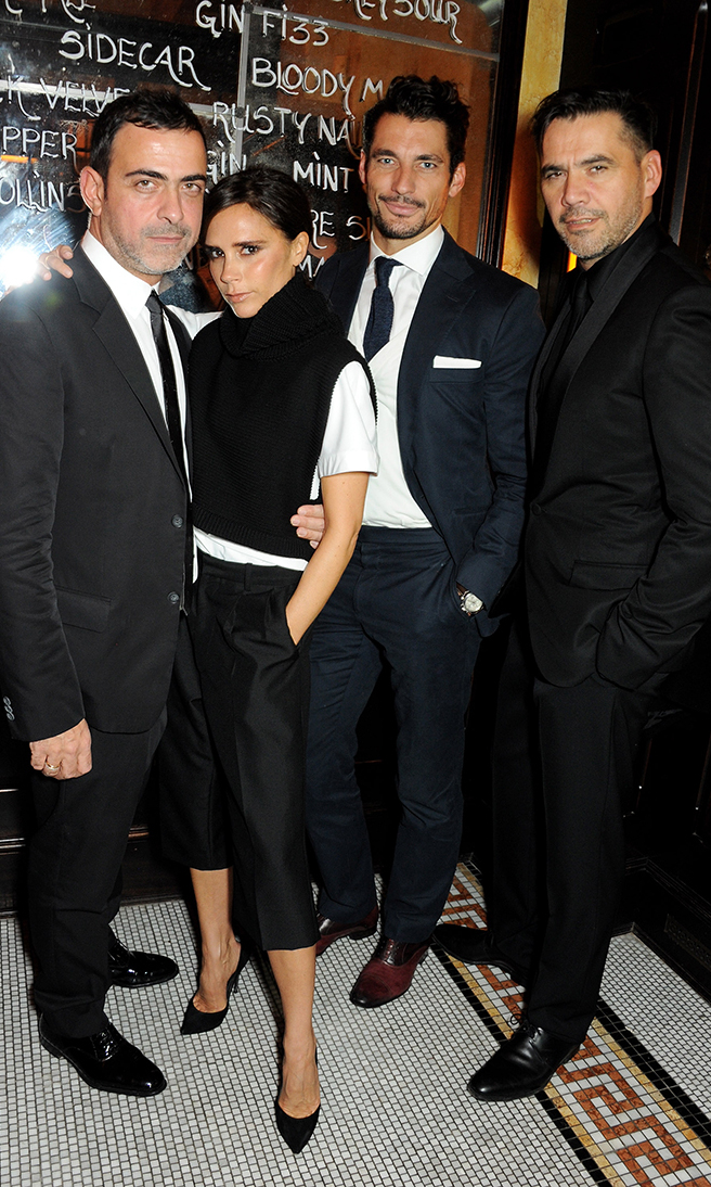 Antonio Berardi, Victoria Beckham, David Gandy and Roland Mouret attend a private dinner hosted by British Vogue celebrating London Fashion Week SS14 at Balthazar on September 15, 2013 in London, England.