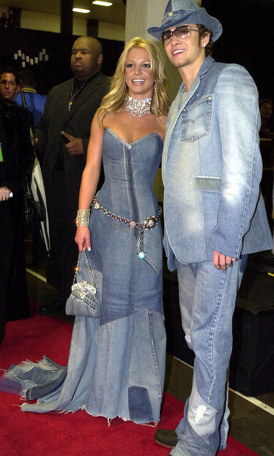 The first and most iconic coordinated look that comes to mind is a Canadian tuxedo moment a la Britney Spears and Justin Timberlake – a.k.a prom king and queen of the 2001 American Music Awards.