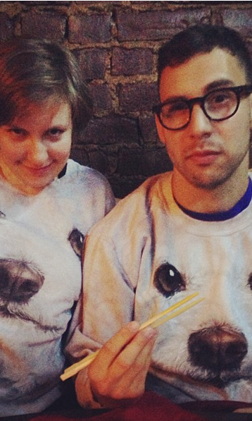 If you follow Girls star and creator Lena Dunham on Instagram, you're well aware of her adorable pooch Lamby. Lena and boyfriend Jack Antonoff took Lamby's cuteness to a whole new level when she posted this picture of them in matching Lamby sweatshirts.