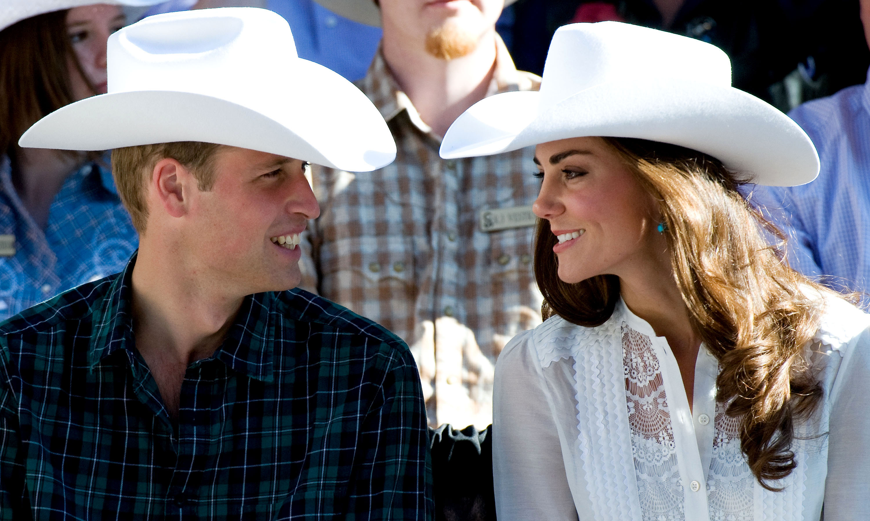 Sometimes a match made in heaven happens above the neck, like the Duke and Duchess of Cambridge sporting matching white cowboy hats at the Calgary Stampede.