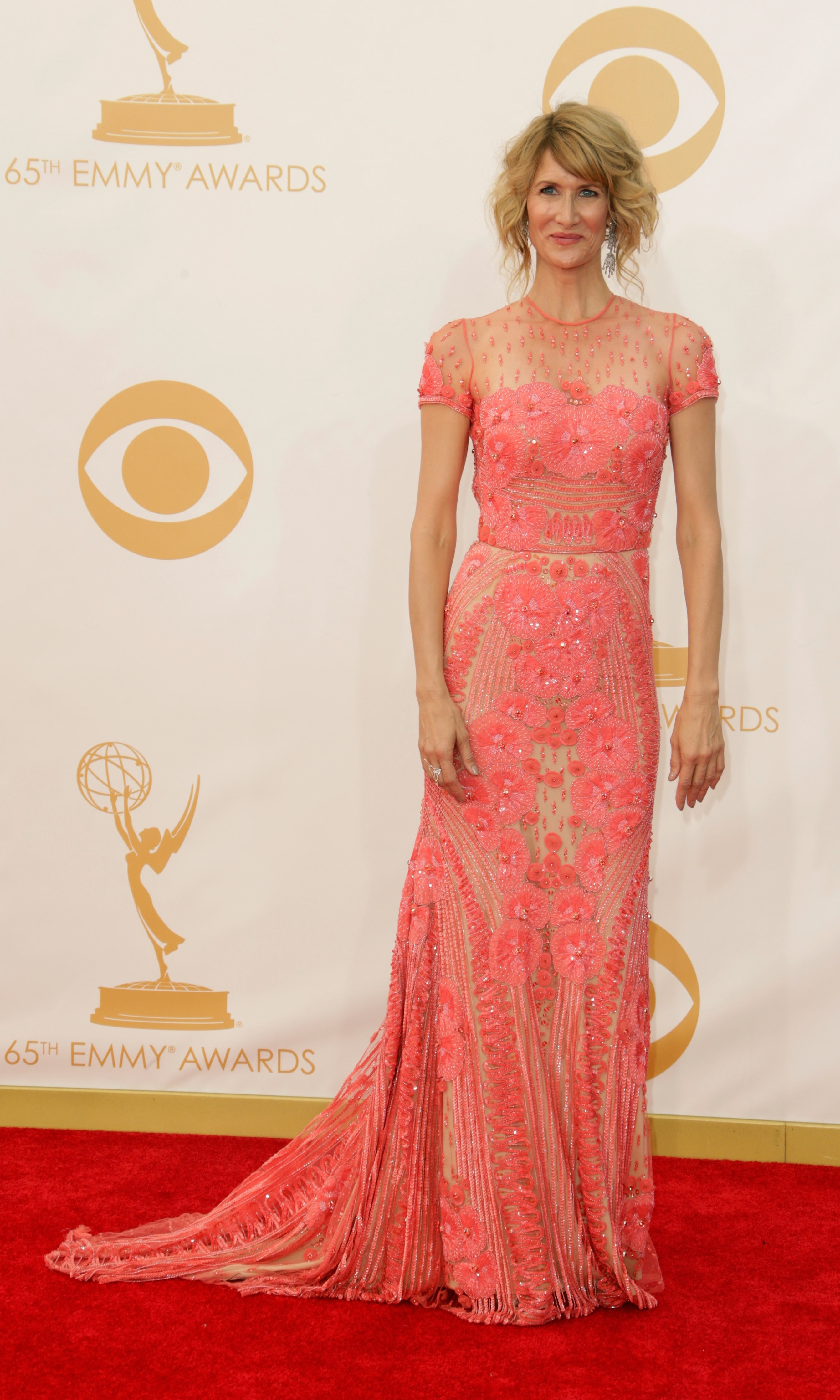 Emmy Award-winner Laura Dern's pink lace confection is like wearable candy, and we love how the Naeem Khan gown still shows some skin.