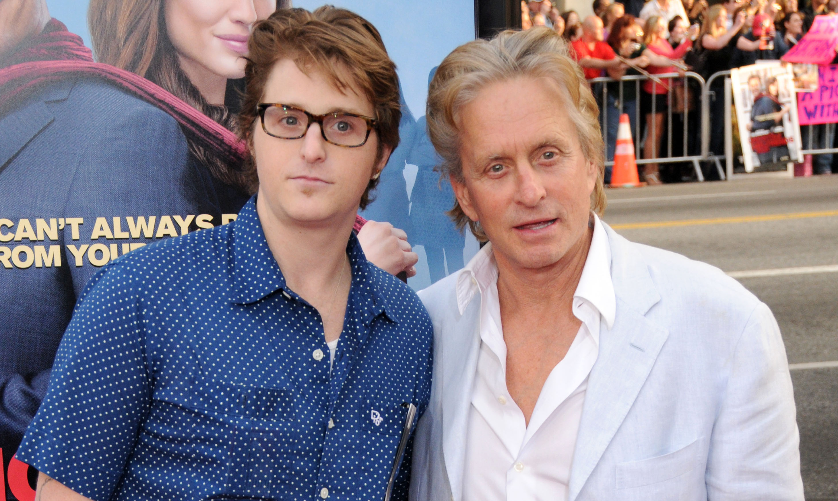 Michael Douglas and his son Cameron Douglas attend the 'Ghosts of Girlfriends Past' world premiere in 2009.