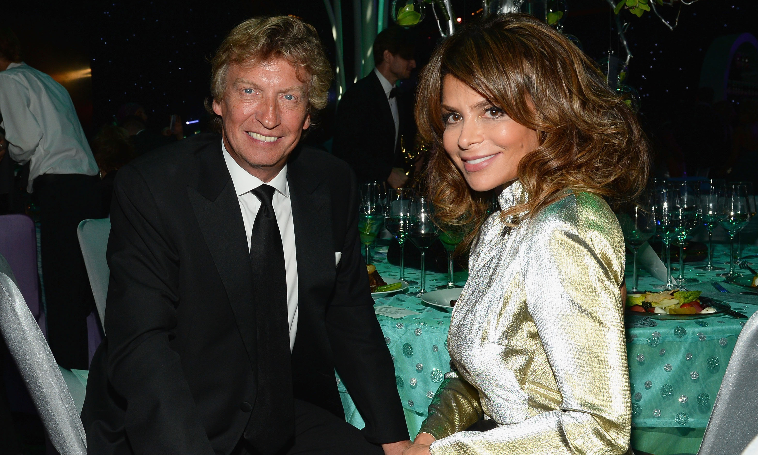 Celebrity judges Nigel Lythgoe and Paula Abdul take in the scene at the Governor's Ball.