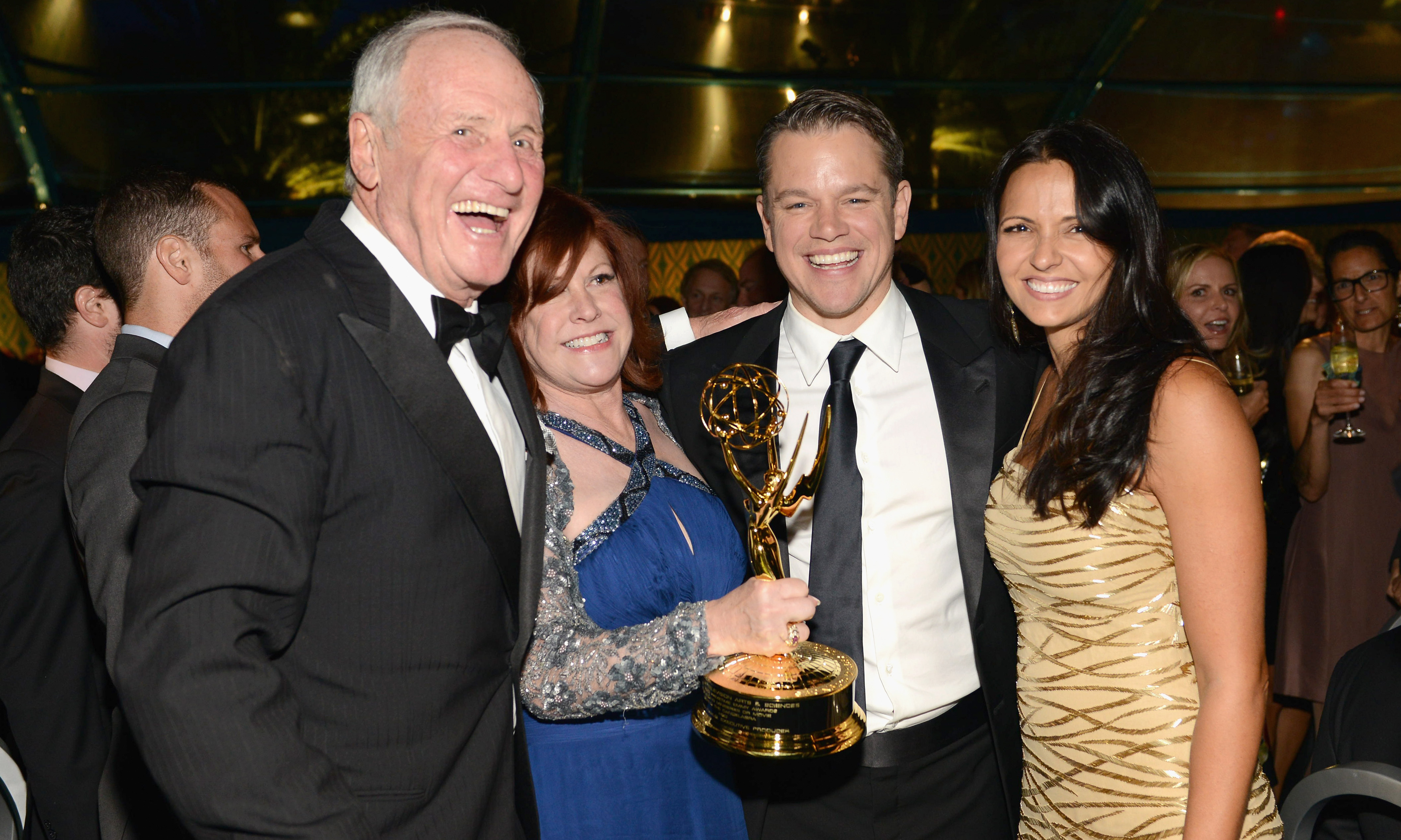 "Jerry Weintraub, Susan Ekins, Matt Damon and Luciana Barroso celebrate the success of ""Behind The Candelabra"" at the HBO official Emmy after party."