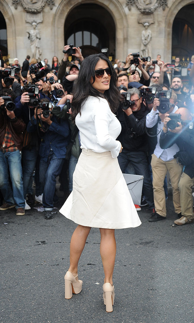 Salma Hayek arrives at Stella McCartney Fashion Show during Paris Fashion Week Spring/Summer 2014.