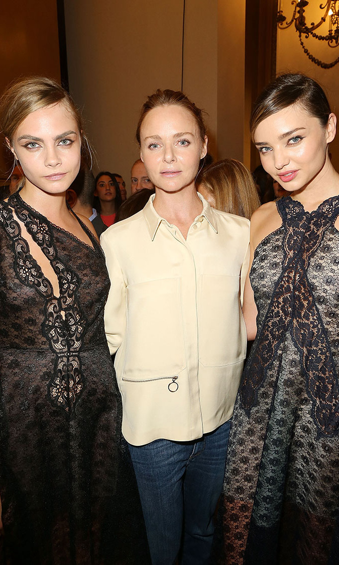 Cara Delevigne, Stella McCartney and Miranda Kerr attend the Stella McCartney show on September 30, 2013 in Paris, France.
