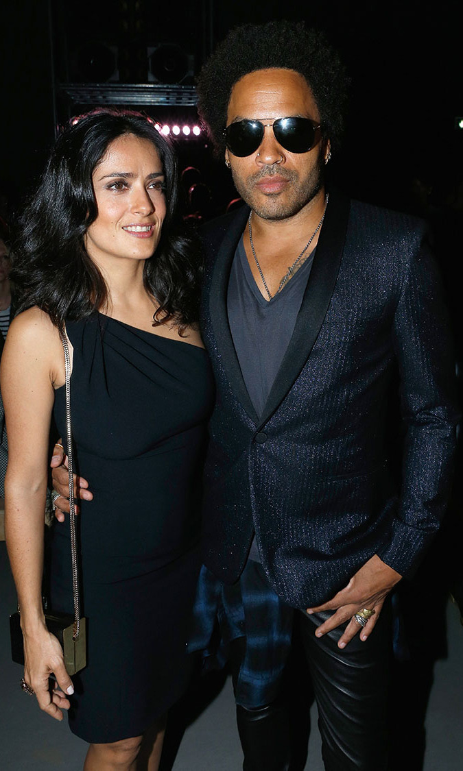 Salma Hayek and Lenny Kravitz attend Saint Laurent show as part of the Paris Fashion Week Womenswear Spring/Summer 2014 at Grand Palais on September 30, 2013 in Paris, France.