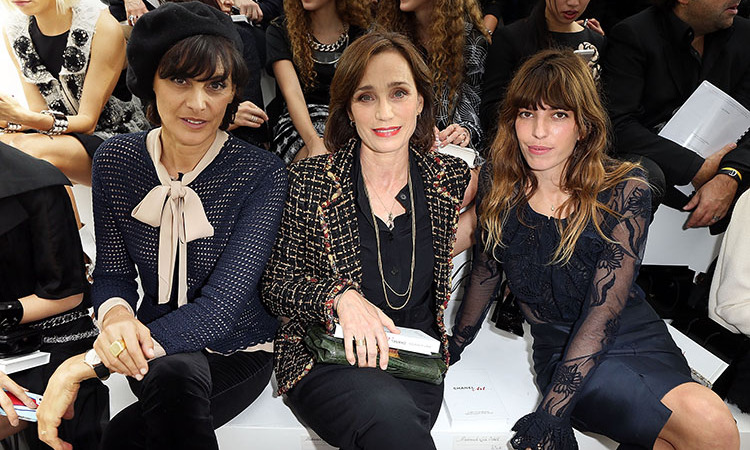 Ines de la Fressange, Kristin Scott Thomas and Lou Doillon attend the Chanel show as part of the Paris Fashion Week Spring/Summer 2014.