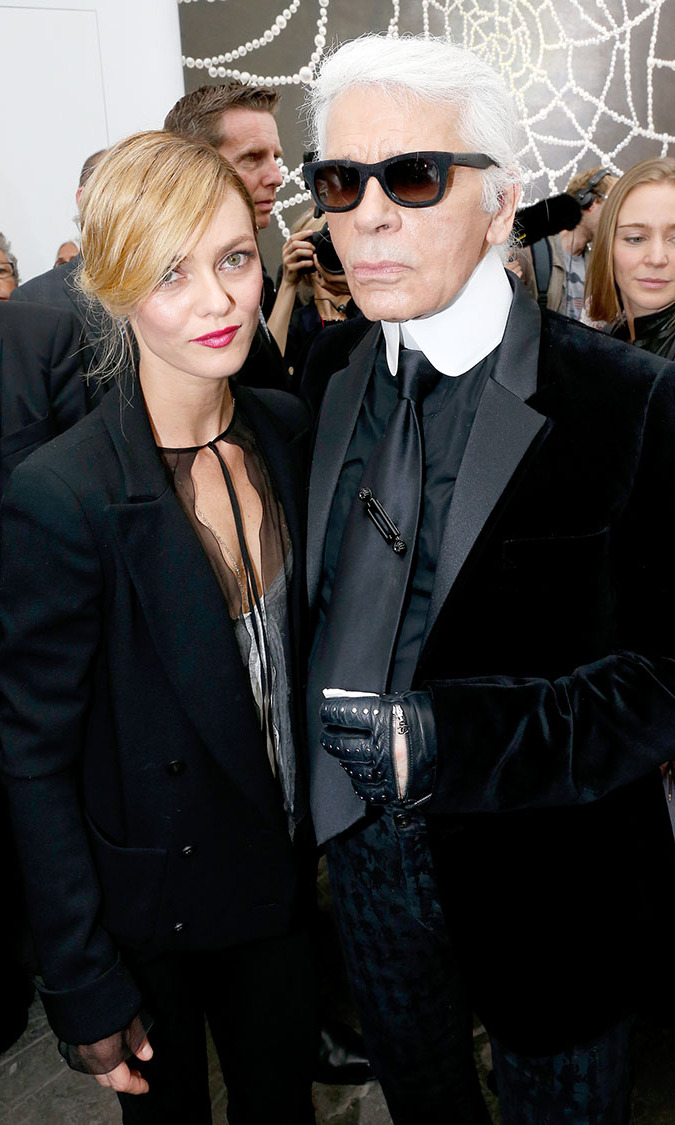 Singer Vanessa Paradis and fashion designer Karl Lagerfeld after the Chanel show as part of the Paris Fashion Week at Grand Palais on October 1, 2013.