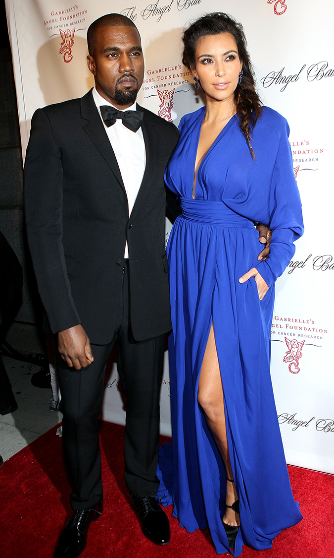 Kim channels her inner Grecian Goddess at the Angel Ball in Oct. 2012, accessorizing her ensemble with a dapper Kanye on her arm.