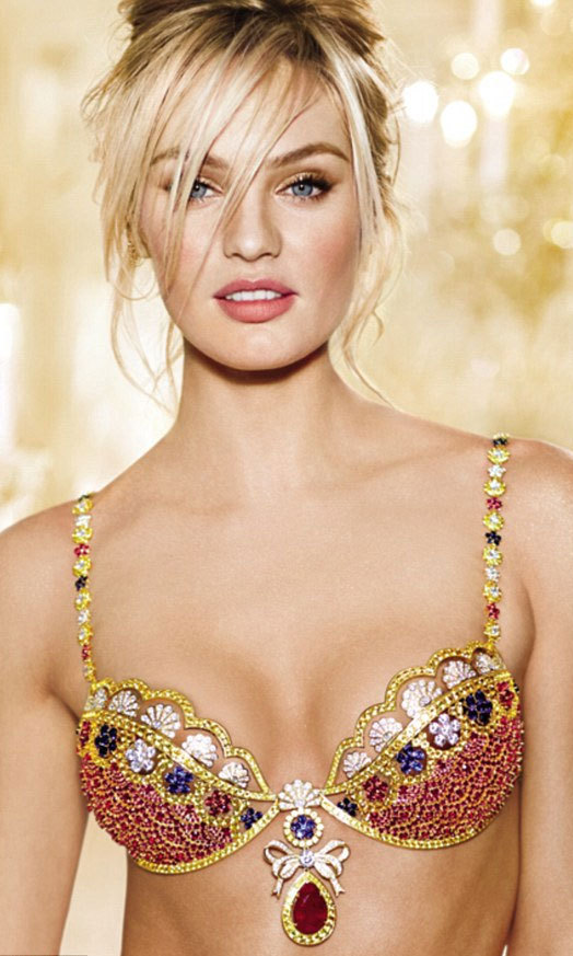 Victoria's Secret Angel Candice Swanepoel models the 'Fantasy Bra,' which is adorned with over $10 million worth of jewels.