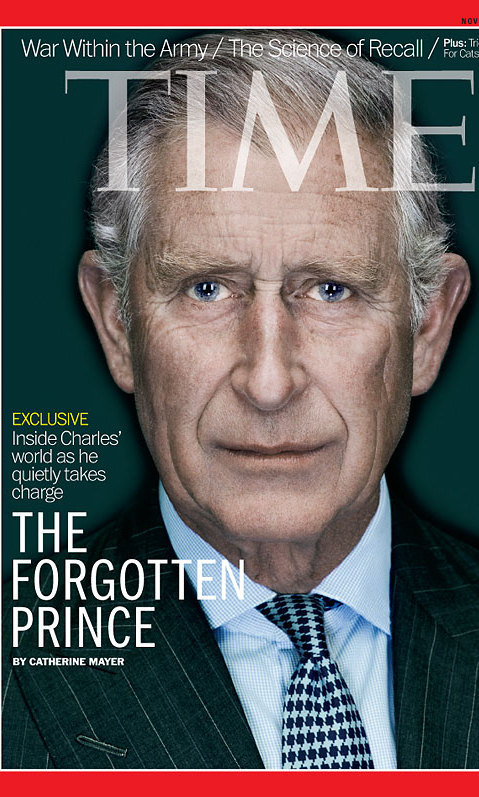 "Prince Charles is featured as the cover story in this week's issue of Time magazine as ""The forgotten prince."""
