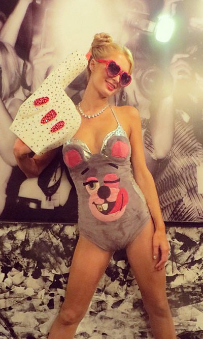 Paris Hilton pulled a Miley for Hugh Hefner's Playboy Halloween party. But where's her Robin Thicke?