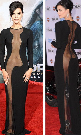 This look is not for the faint of heart! Actress Jaimie Alexander attends the premiere of 'Thor: The Dark World' in a black, floor-length cutaway gown (sans undergarments).
