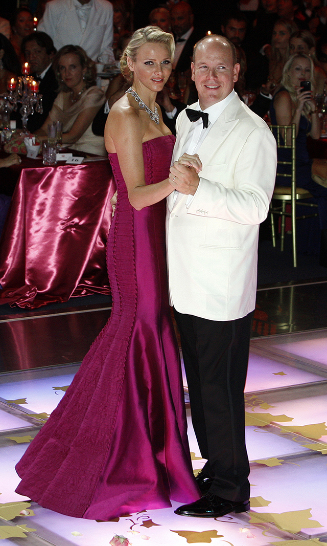 For the star-studded Red Cross Gala in Aug. 2011, the princess chose a deep magenta gown, while her new husband, Albert II, donned a white smoking jacket.