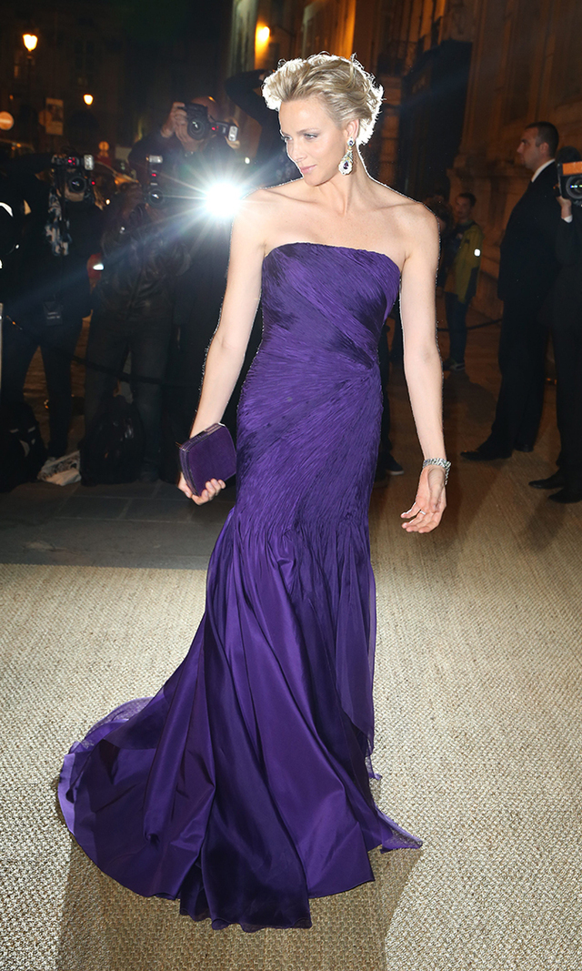 Channeling Princess Diana, Charlene stole the show at the Ralph Lauren Collection private dinner on Oct. 9, 2013 in a sweeping indigo dress and matching lilac diamond earrings.