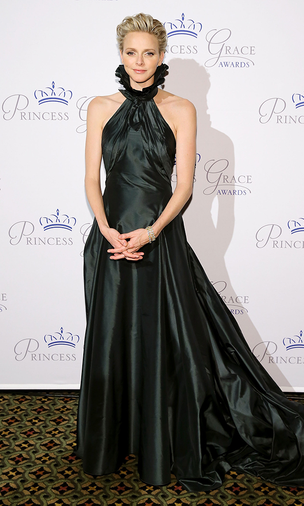 At the Princess Grace Awards Gala on Oct. 30, 2013, Princess Charlene did her late mother-in-law proud in a rich, dark-green taffeta gown by Ralph Lauren.
