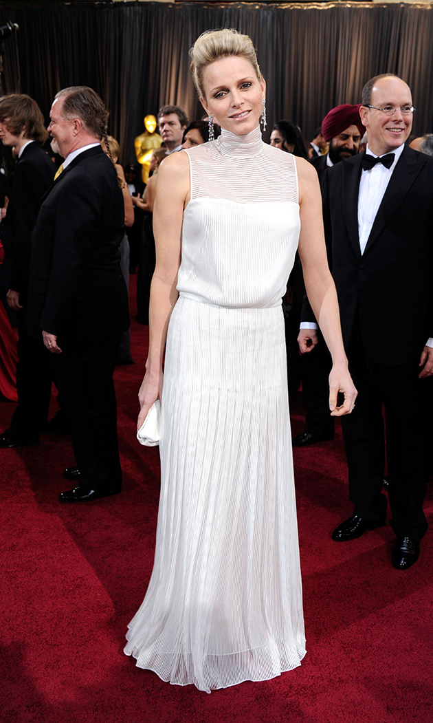 Charlene upped the glamour ante for her highly anticipated appearance at the 2012 Academy Awards in a high-necked, white gown by South African designer Akris.
