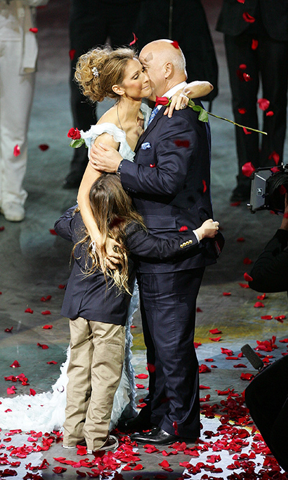 "In a touching moment, Celine was embraced by her family after the final performance of her show ""A New Day..."" at Caesars Palace on Dec. 15, 2007 in Las Vegas. Almost three million people have watched Dion perform 717 shows since the show opened in March 2003."