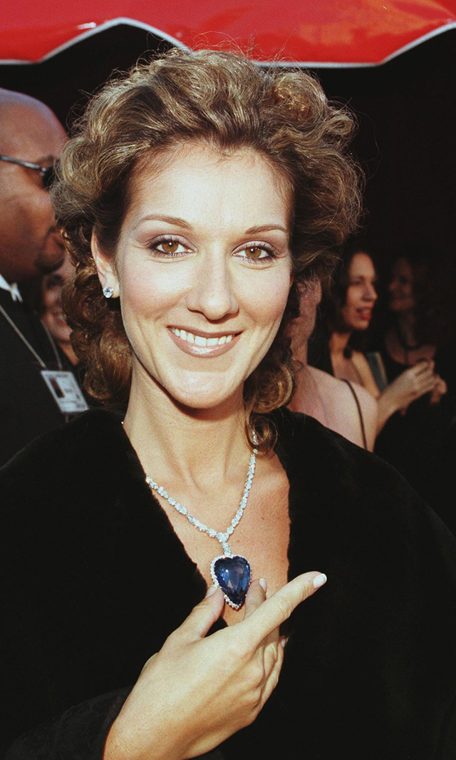 "In 1998, Celine Dion attended the Academy Awards wearing a replica of the blue diamond from James Cameron's 'Titanic,' for which she sung the theme song. ""My Heart Would Go On"" would become Celine's biggest hit (and one of the best-selling singles of all time) and would henceforth cement her worldwide fame."