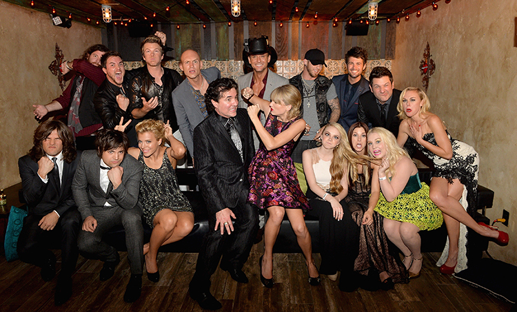 ames Young, Mike Eli, Jon Jones, Tim McGraw, Brantlee Gilbert, Chris Thompson, Jay Demarcus,  Reid Perry, Neil Perry,  Kimberly Perry, Scott Borchetta, Taylor Swift, Danielle Bradbery, Cassadee Pope, RaeLynn and Laura Bell Bundy attend the Big Machine Label Group CMA Awards after party!