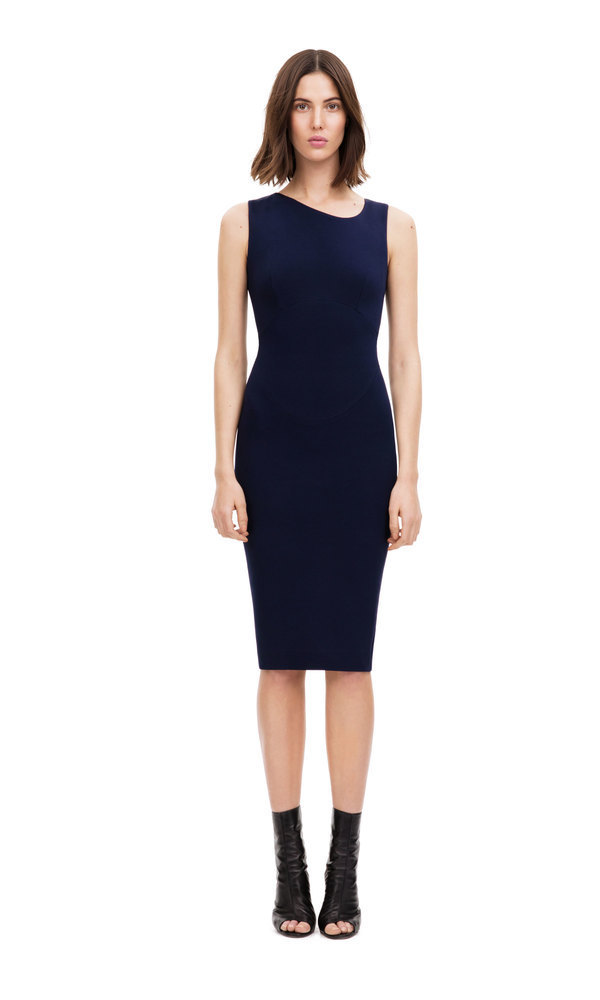 Obi seamed fitted dress