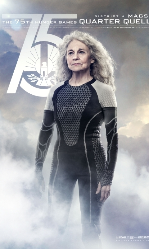 MAGS (Lynn Cohen): An elder Hunger Games winner from District 4, Mags is a warm and brave opponent.