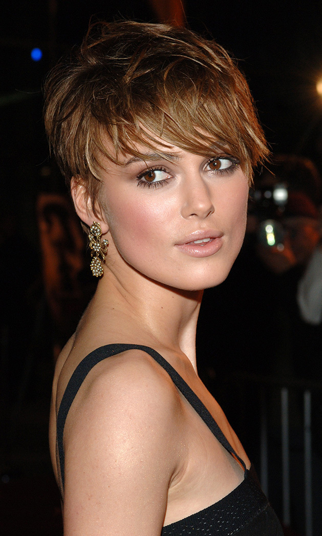 For Tony Scott's 'Domino,' which told the true story of model-turned-bounty hunter Domino Harvey, Keira Knightley chopped her locks. While the film was generally panned, Keira's cut was a hit - a sweep of feathery bangs in front and tightly trimmed in the back. Keira paired the new cut with a chic black dress at the premiere of 'The Jacket' in 2005.