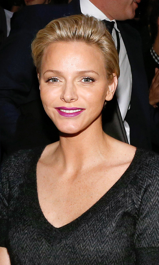 Princess Charlene of Monaco, seen here at the Spring/Summer 2014 Louis Vuitton show in Paris, debuted her long pixie last year - and Prince Albert II's wife looks perfectly chic with her short locks pushed back (no hair clogging up the former Olympian's bronzed décolletage!). We were used to seeing the princess with her hair up, so the change wasn't as drastic as we'd expected.