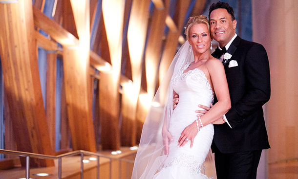 ROBERTO ALOMAR AND KIM PERKS: Former Toronto Blue Jay Roberto Alomar and his fiancée Kim Perks held their all-star ceremony at Toronto's Art Gallery of Ontario on a very lucky date – Dec. 12, 2012 (or 12-12-12).