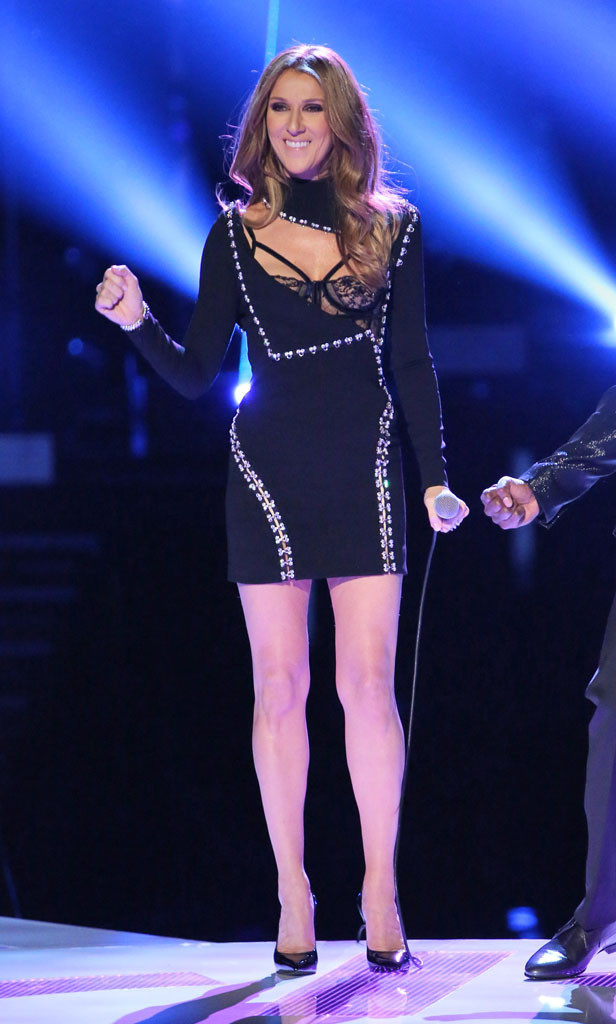 Celine Dion performed on 'The Voice' finale on Dec. 17, sporting a very sexy, Atelier Versace frock that showed off her incredible figure. Photo credit: Tyler Golden/NBC