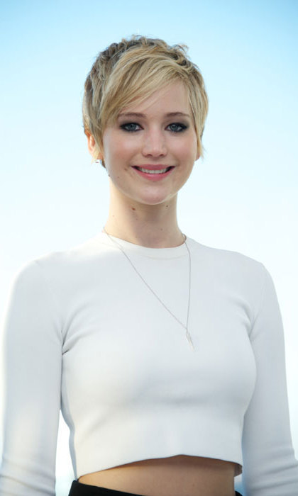 "Jennifer Lawrence chopped her hair into a pixie crop in November. ""I cut it earlier, and it was just kind of like shoulder-length and it grew to that awkward, gross length,"" she said.  ""I just kept putting it back in a bun and I said, 'Well I don't want to do this,' so I just cut it off."" Photo: © Getty Images"