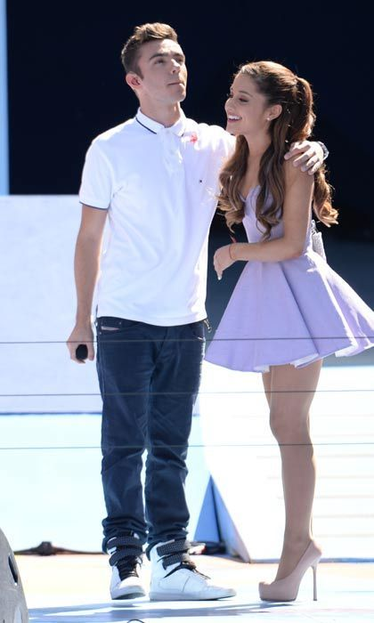 "Ariana Grande & Nathan Sykes  In September 2013, The Wanted's Nathan Sykes confirmed that he was dating US Nickelodeon star Ariana Grande.  The couple, who collaborated together on the single Almost Is Never Enough, made the big announcement to fans on Twitter.  ""So, I guess it's obvious now…thanks to everyone who is being so lovely,"" 20-year-old Nathan wrote. ""I'm so happy ❤️ #butweareterrified #pleasedontkillme #orariana.""  