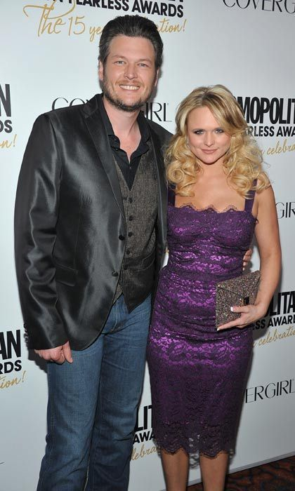 "Miranda Lambert & Blake Shelton  In 2005, Miranda Lambert was paired with fellow newcomer Blake Shelton for CMT's 100 Greatest Duets. ""We just hit it off,"" Blake said of that first meeting with his future wife.  They went on the road together between 2008 and 2009, and in May 2010, after five years of dating, Blake surprised Miranda by popping the question with a diamond and platinum ring.  ""I was wearing a camo jacket and no makeup,"" Miranda later told People of the proposal.  ""We've been together long enough to know that we're more miserable apart than we are together,"" Blake added. ""I think we're meant to be together, so we're just going to do something about it – finally!""  The happy couple tied the knot in Texas in May 2011 in front of family and friends, including Kelly Clarkson and Katherine Heigl.   Photo: © Getty Images"