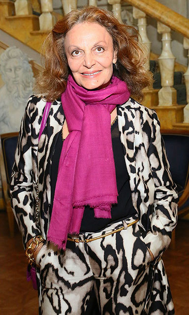 Diane looked better than ever as she attended the 2013 WWD Apparel And Retail CEO Summit Dinner in October wearing a bold, animal-print suit and a fuchsia scarf.