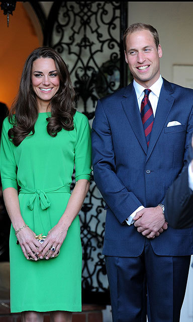 For a private reception in California in 2011, the newlywed Duchess of Cambridge chose a chic DVF creation in emerald green.