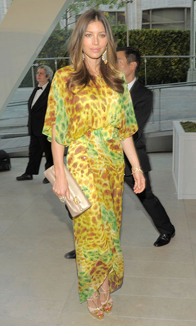 Jessica Biel dazzled in green and yellow silk at the 2010 CFDA Fashion Awards.