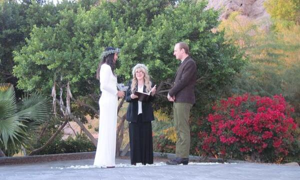 "We doubt Fleetwood Mac's Stevie Nicks let Vanessa Carlton and her husband-to-be, John McCauley, stop thinking about tomorrow as the rock icon officiated the two musicians' wedding. It was a bohemian affair, with Vanessa in a floral garland and simple white gown. She captioned this Twitter photo: ""Thanks Stevie for marrying us!"""